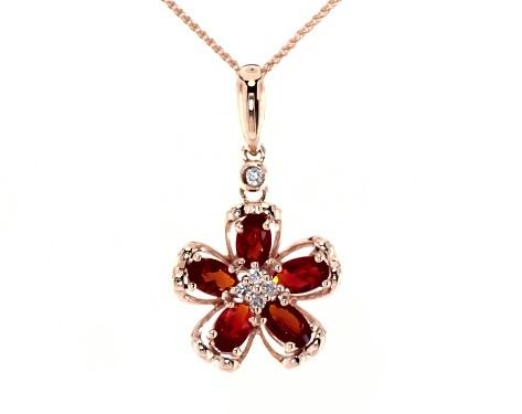 14K Rose Gold Fire Opal and Diamond Flower Motif Necklace