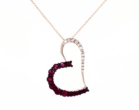 14K Rose Gold Ruby and Diamond Open Heart Necklace