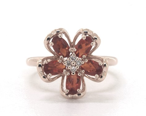 14K Rose Gold Fire Opal and Diamond Flower Motif Ring