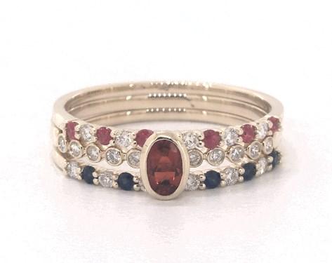 14K Yellow Gold Ruby, Sapphire, Fire Opal and Diamond Three Piece Ring Set