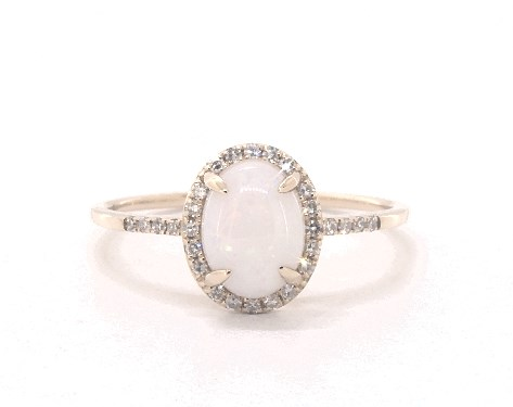 14K Yellow Gold Opal and Diamond Halo Ring