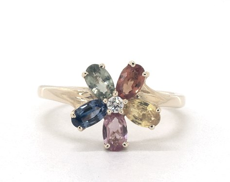 14K Yellow Gold Multicolored Sapphire and Diamond Rainbow Flower Ring