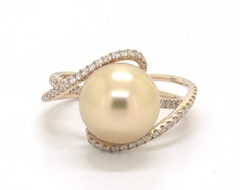 18K Yellow Gold  Deep Golden South Sea Cultured Pearl Aerial Ring (10-11mm)