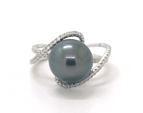 18K White Gold Tahitian Cultured Pearl Aerial Ring (10-11mm)