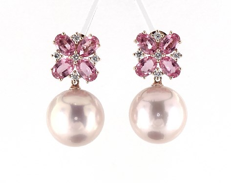 18K Rose Gold Pink Sapphires and Pink Freshwater Cultured Pearl Floral Earrings (14-15mm)