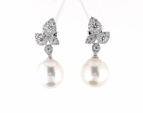 18k White Gold Teardrop Diamond Cer And South Sea Cultured Pearl Drop Earrings 12 13 Mm