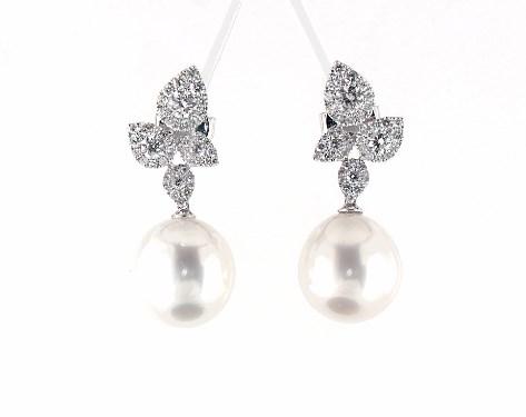 614597a15 earrings, pearl earrings, 18k white gold teardrop diamond cluster and south  sea cultured pearl drop earrings 12 13 mm item 65936