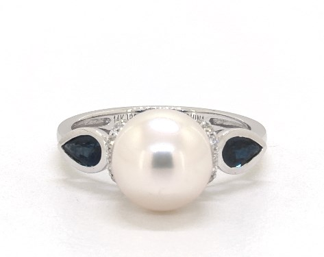 14K White Gold  Akoya Cultured Pearl and Bezel Set Sapphire Ring (9.5 mm)