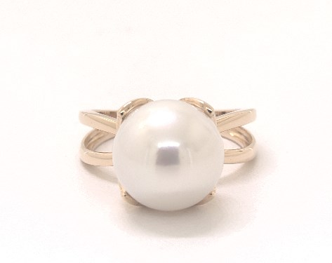14K Yellow Gold Freshwater Cultured Pearl Wire Leaf Ring (11-12 mm)