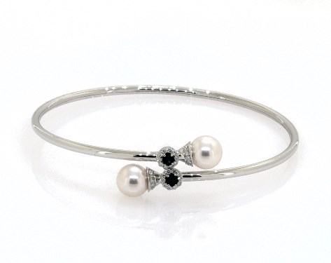 14K White Gold Cultured Akoya Pearl and Sapphire Bracelet (8.5 mm)