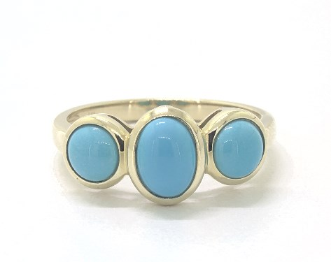14K Yellow Gold Turquoise Bezel Three Stone Ring