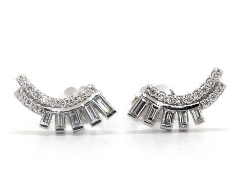 14K White Gold Curved Fan Climber Diamond Earrings