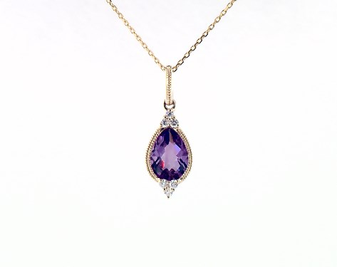 14K Yellow Gold Classical Amethyst and Diamond Necklace by Brevani