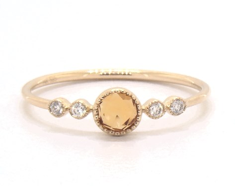 14K Yellow Gold Dainty Citrine Bezel Diamond Ring by Brevani
