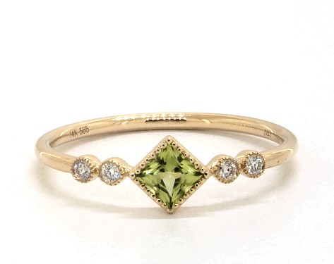 14K Yellow Gold Dainty Peridot Bezel Diamond Ring by Brevani