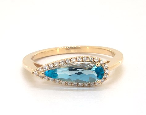 14K Yellow Gold Teardrop Blue Topaz and Diamond Halo Ring by Brevani