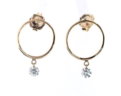 14K Yellow Gold Open Circle and Single Pierced Diamond Earrings by Brevani