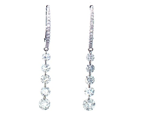 14K White Gold Graduated Pierced Diamond Drop Earrings by Brevani