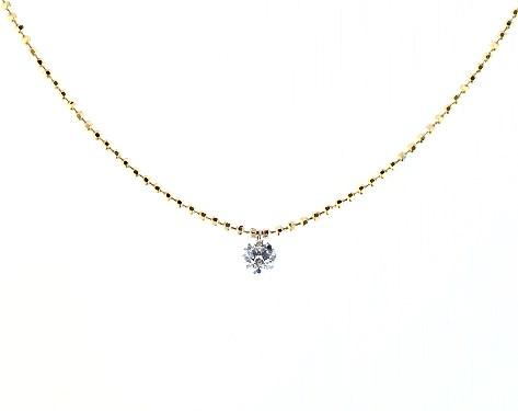 14K Yellow Gold Single Pierced Diamond Speck Necklace by Brevani