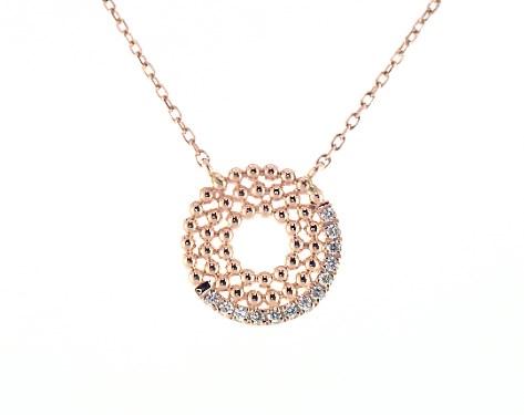 18K Rose Gold Dots Asymmetrical Open Circle Diamond Necklace