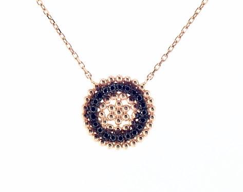 18K Rose Gold Dots Black Diamond Inner Circle Necklace