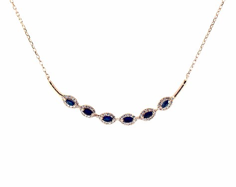 18K Rose Gold Curved Bar Marquise Sapphire and Diamond Necklace