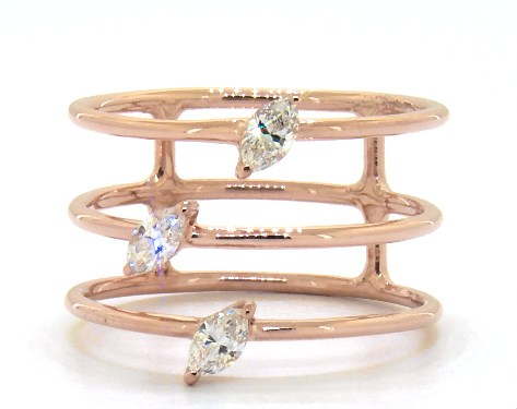 18K Rose Gold Diamond Accent Three Row Ring