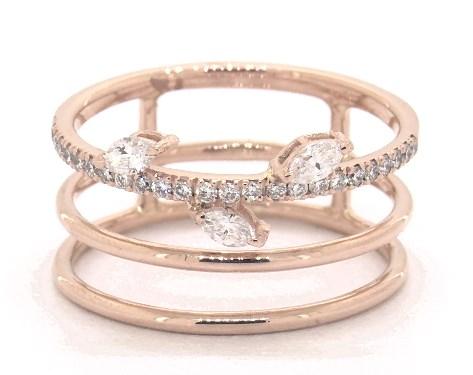 18K Rose Gold Leafy Stem Three Row Diamond Ring