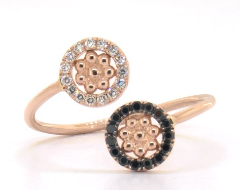 18K Rose Gold Dots Black and White Diamond Ring