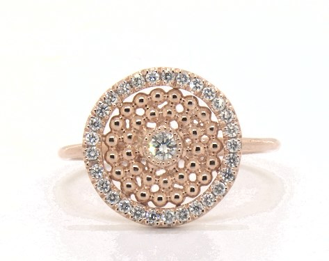 18K Rose Gold Dots Inner Circle Diamond Ring