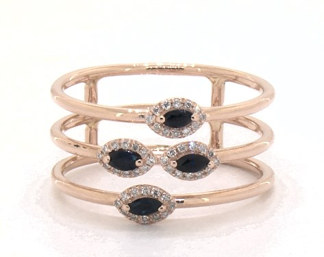 18K Rose Gold Marquise Sapphire and Diamond Three Row Ring