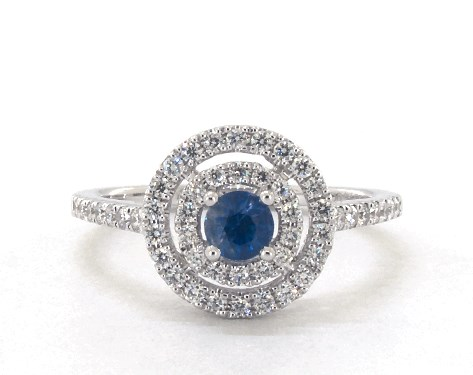 14K White Gold Double Halo Sapphire and Diamond Ring