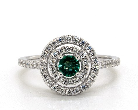 14K White Gold Double Halo Emerald and Diamond Ring