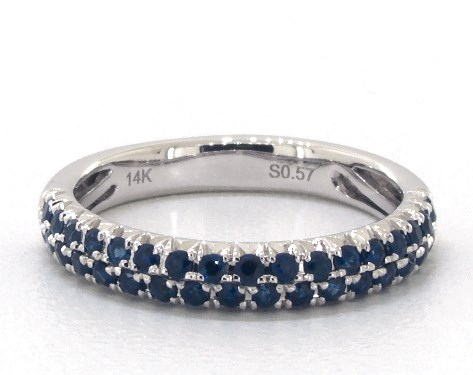 14K White Gold Double Row Pave Sapphire Ring