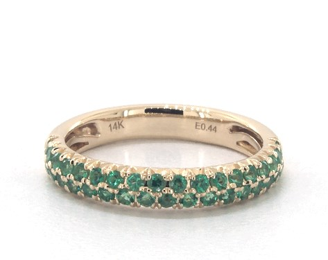 14K Yellow Gold Double Row Pave Emerald Ring