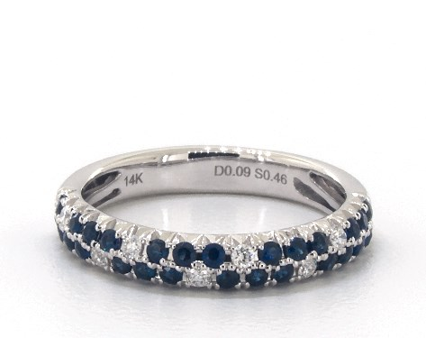 14K White Gold Double Row Pave Sapphire and Diamond Ring