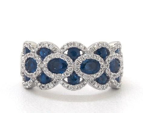 14K White Gold Wavy Sapphire and Diamond Ring