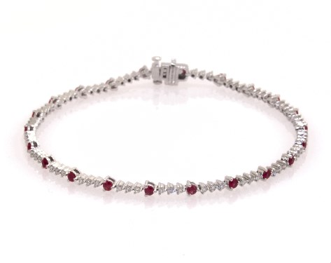 14K White Gold Perpetual Diamond and Ruby Tennis Bracelet