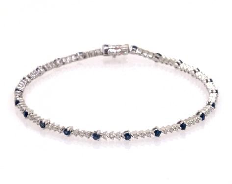 14K White Gold Perpetual Diamond and Sapphire Tennis Bracelet
