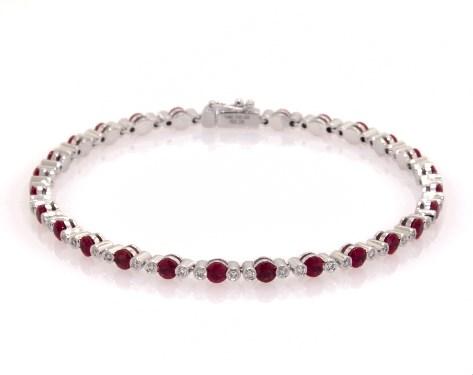 14K White Gold Ruby and Bezeled Diamond Tennis Bracelet