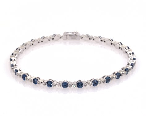 14K White Gold Sapphire and Bezeled Diamond Tennis Bracelet