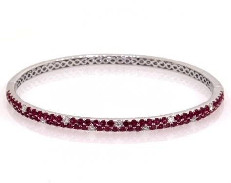 14K White Gold Double Row Pave Ruby and Diamond Bangle Bracelet