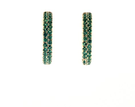 Double Row Pave Emerald Hoop Earring by James Allen