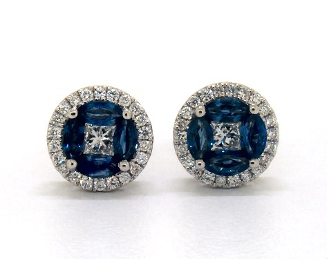 Marquise Sapphire and Diamond Earrings by James Allen