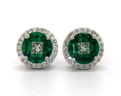 14K White Gold Marquise Emerald and Diamond Earrings