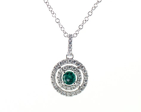 14K White Gold Double Halo Emerald and Diamond Necklace