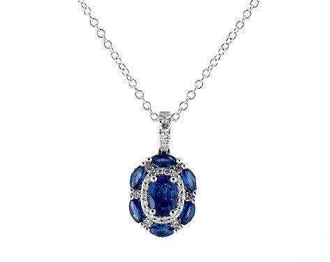 14K White Gold Imperial Sapphire and Diamond Necklace