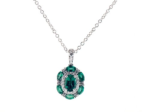 14K White Gold Imperial Emerald and Diamond Necklace