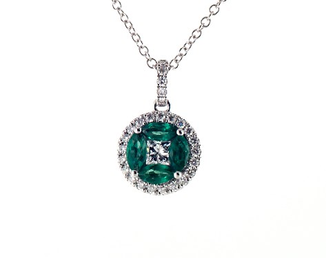 14K White Gold Marquise Emerald and Diamond Pendant