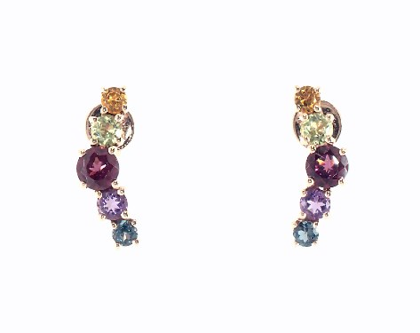 14K Rose Gold Everyday Multi Color Stone Climber Earrings